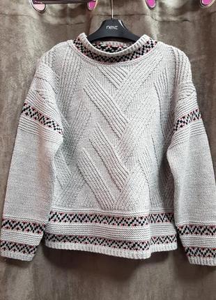 Серый вязанный свитер tu s,новый теплый уютный свитерок xs-s2