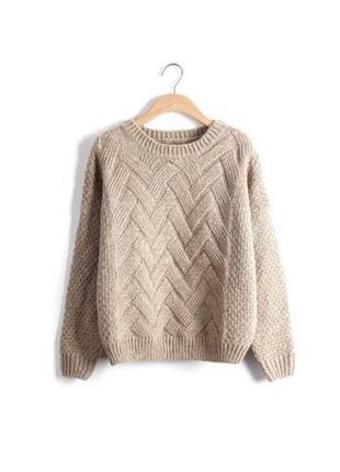 Тёплый свитер  с косами бежевый3