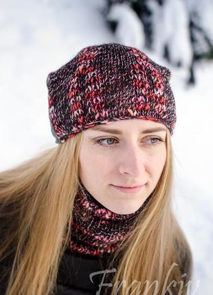 Демісезонний яскравий комплект - шапка біні і міні баф (пестрый осенний комплект )3