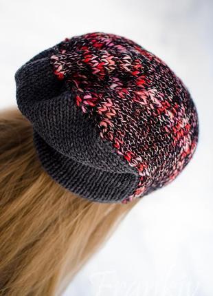 Демісезонний яскравий комплект - шапка біні і міні баф (пестрый осенний комплект )4