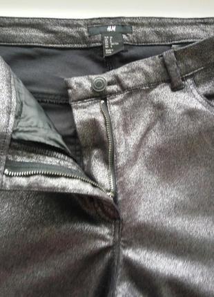 Джинсы скинни завышенная посадка металлик покрытие серебристое3