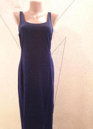 Роскошное платье в блестки цвета звездной ночи3