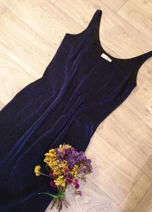 Роскошное платье в блестки цвета звездной ночи2