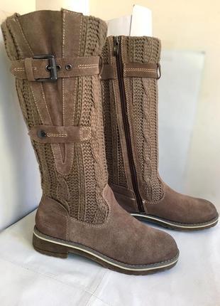 Сапоги зимние, кожаные с вязаным голенищем, bama 38/39 размер.1