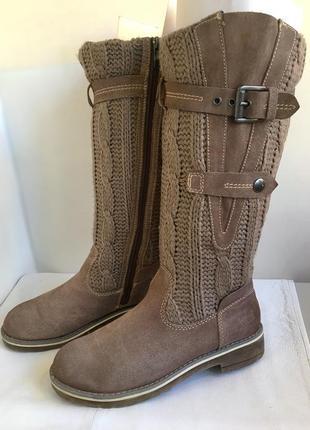 Сапоги зимние, кожаные с вязаным голенищем, bama 38/39 размер.4