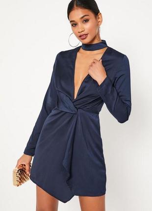 Новое сатиновое платье с чокером1