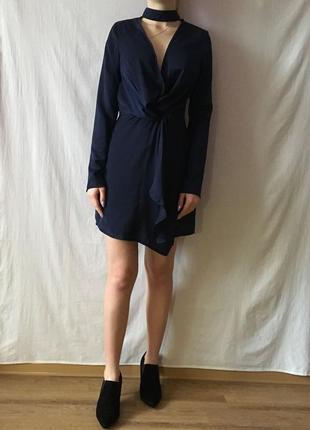 Новое сатиновое платье с чокером5