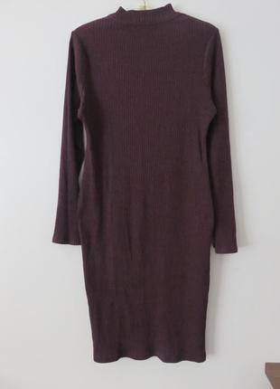 Актуальное платье миди в рубчик, платье гольф2
