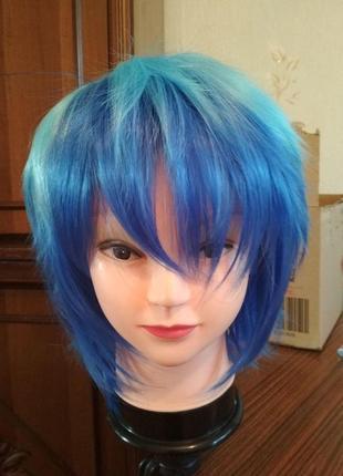 Супер цена парик короткий голубой синий градиент косплей аниме хеллоуин1
