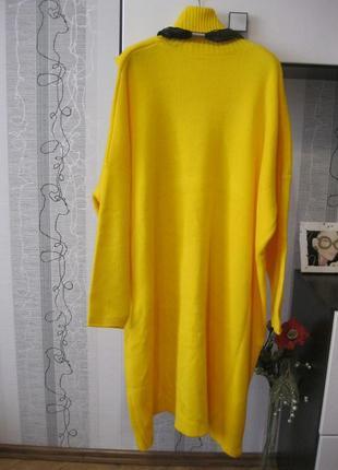 Дизайнерский распашной кардиган удлиненный гольф свитер ассиметрия 20, 4хл,545