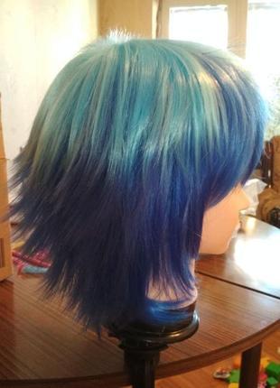Супер цена парик короткий голубой синий градиент косплей аниме хеллоуин2