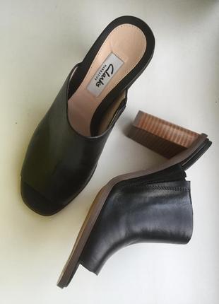 Сабо clarks шлёпки на каблуке кожа босоножки шлепанци1