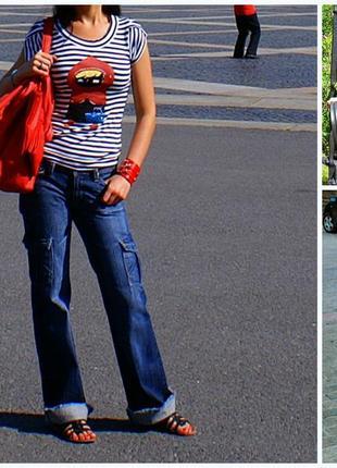 Джинсы с накладными карманами и необработанным краем mango размер 343