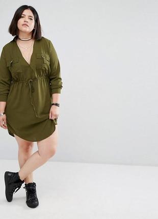 Платье рубашка большого размера цвета хаки1