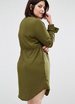 Платье рубашка большого размера цвета хаки2