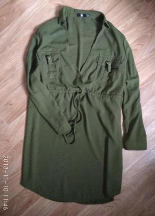 Платье рубашка большого размера цвета хаки3