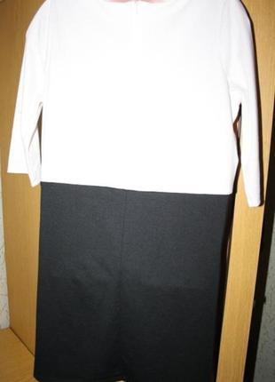 Трикотажное платье туника, белый верх черный низ, ид. сост., 50-52р.2
