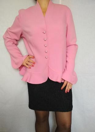 Эксклюзив, люкс бренд, пиджак жакет, шерсть, дизайн,розовый,escada1