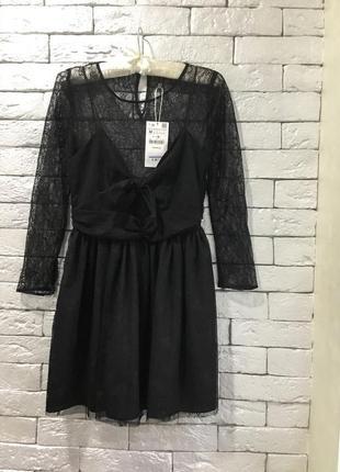 Кружевное платье с узлом  zara p.s-m4