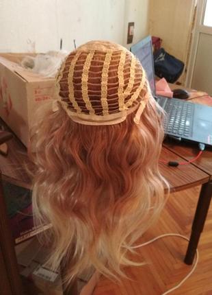 Парик омбре блонд светлый и коричневый волнистый естественный высокое качество5