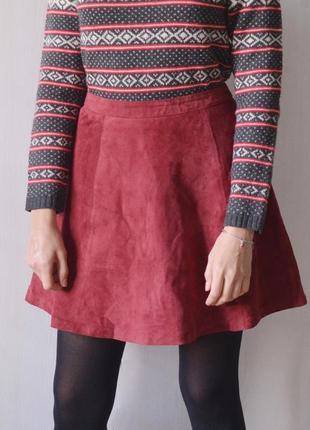 Замшевая юбка из натуральной замши цвета бургунди марсала бордовый2