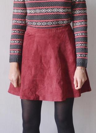 Замшевая юбка из натуральной замши цвета бургунди марсала бордовый1