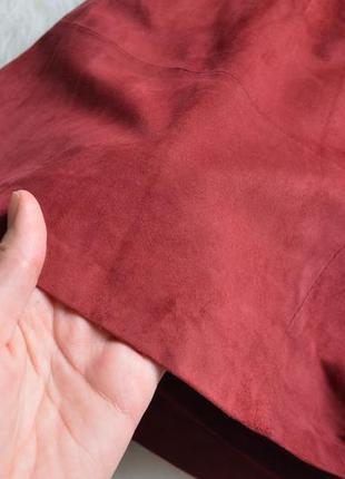 Замшевая юбка из натуральной замши цвета бургунди марсала бордовый4