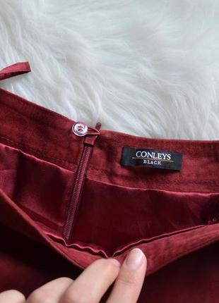 Замшевая юбка из натуральной замши цвета бургунди марсала бордовый3