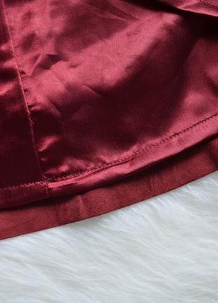 Замшевая юбка из натуральной замши цвета бургунди марсала бордовый5