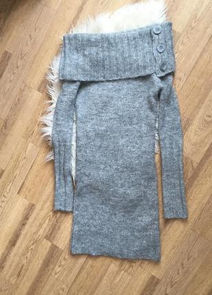 Модное мохеровое теплое платье с открытыми плечами миди3