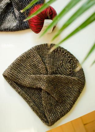 Блискуча світло коричнева шапка чалма ( блестящая коричневая шапка чалма )