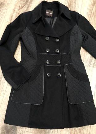 Пальто двубортное со вставками l1