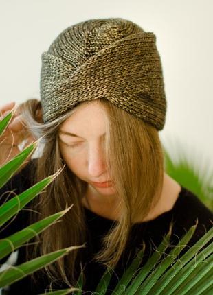 Блискуча світло коричнева шапка чалма ( блестящая коричневая шапка чалма )2
