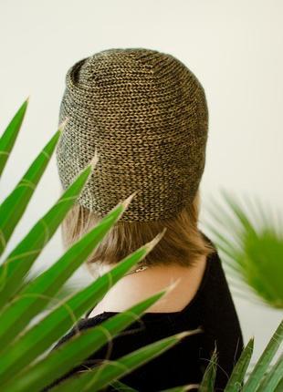 Блискуча світло коричнева шапка чалма ( блестящая коричневая шапка чалма )3
