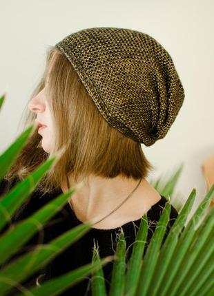 Блискуча світло коричнева шапка чалма ( блестящая коричневая шапка чалма )4