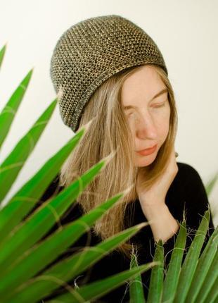 Блискуча світло коричнева шапка чалма ( блестящая коричневая шапка чалма )5