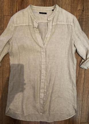 Бежевая удлиненная рубашка м льняная лен блуза1