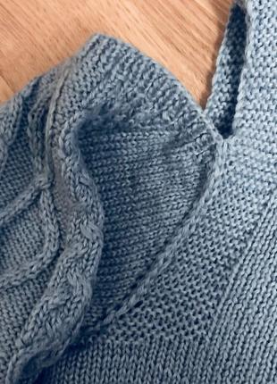 Свитер кофта с открытыми плечами 100% шерсть ручная вязка2
