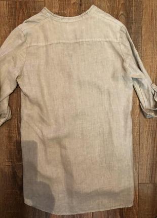 Бежевая удлиненная рубашка м льняная лен блуза2