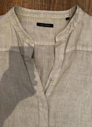 Бежевая удлиненная рубашка м льняная лен блуза3