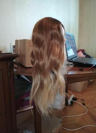 Парик омбре блонд светлый и коричневый волнистый естественный высокое качество2