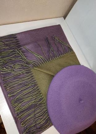 Комплект чешский фетровый берет tonak fezko и двусторонний палантин в тон1
