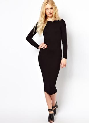 Облегающее длиное платье с длинными рукавами трикотажное чёрное миди1