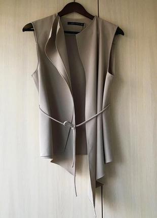 Эффектный удлинённый жилет zara, m, цвет пепельный мокко4