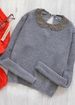 Серый свитерок с вышитым воротничком zara ❤️1