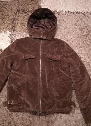 Вельветовая зимняя куртка с капюшоном, с-м1