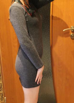 Теплое платье серое новое дешево из ангоры софт2