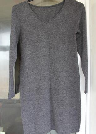Теплое платье серое новое дешево из ангоры софт3