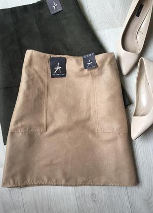 Замшевая юбка с карманами цвет camel2