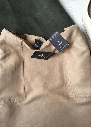 Замшевая юбка с карманами цвет camel3
